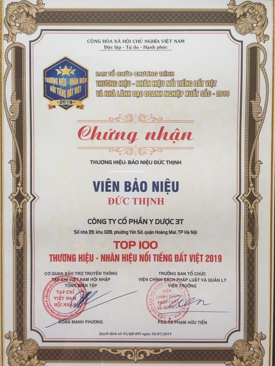 top 100 nhan hieu thuong hieu noi tieng dat viet - Giải thưởng đạt được
